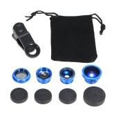 Lente universal para teléfono móvil 5 en 1 ojo de pez gran angular Macro 2X Teleconverter CPL lente desmontable clip-on lente de la cámara Kit