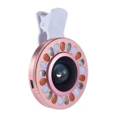 Clip-on LED Ring Selfie Light Supplementary Fill-in Lighting with Wide Angle Macro Lens for iPhone Samsung HTC Smartphone