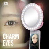 NANGUANG CN-MP32C Clip-on Selfie Fill-in Ring LED Light Flash Bi-color 3200-5600K High CRI 95 Stepless Adjustable Round Shape with 32 LED Makeup Mirror for Iphone Samsung Smartphone Pink