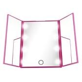 Specchio per trucco portatile a LED Illuminato a luminosità regolabile Specchio triplo pieghevole con supporto con due batterie CR2032
