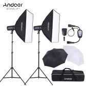 Andoer MD-300 600W (300W * 2) Photo Studio Monolight Strobe Flash Light Softbox Lighting Kit with Light Stand Softbox Lambency Unbrella Flash Trigger Carrying Bag for Video Shooting Location and Portrait Photography