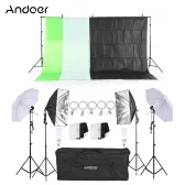 "Andoer Photography Kit 2Pcs 33"" White Soft Light Umbrella 2Pcs 50*70cm Softbox with Bulb Holder 4Pcs 45W Light Bulb 2Pcs Swivel Socket with Plug 1Pc 2 * 3m Backdrop Stand 4Pcs 2m Light Stand with 1.5m*3m Black White Green Non-woven Backdrops 3Pcs Fish-like Mount Clip 5Pcs Backdrop Retaining Clip for Photo Studio"