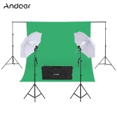 "Andoer Fotografia Zestaw 2 * 3m Tło Stojak 1,8 * 2,7m Zielona Muślin tło 2Pcs 135W 5500K białe Daylight żarówek z 2 gniazdami obrotowe 2szt 33 ""White Soft Light Umbrella 2Pcs Światło Stojak na Photo Studio"