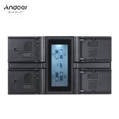 Andoer EN-EL15 NP-F970 4-Kanal Digitalkamera Akkuladegerät mit LCD Display für Nikon D500 D610 D7100 D700 D800 D7200 für Sony NP-F550 F750 F950 NP-FM50 FM500H