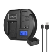 Andoer Fast Charger Caricabatteria per fotocamera a doppio canale