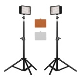 CN-160T LED Video Light Kit On-Camera Lighting 5600K Fixed Color Temperature 160pcs LED Beads Stepless Dimmable