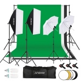 Andoer Photography Kit 1.8*2.7m Black White Green Cotton Backdrop 3pcs Fish-like Mount Clip 1pc 60cm 5in1 Photography Reflector 2pcs 33 Inch White Soft Light Umbrella 2pcs 50cm*70cm Softbox with Single Bulb Holder 2pcs 135W 2pcs 45W Light Bulb 2pcs Swivel Socket 1pc 2*3 meters Backdrop Stand 4pcs 2m Light Stand for Photo Studio