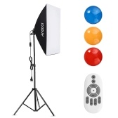 Andoer Studio Photography Softbox RGB LED Light Kit Including 20*28 Inch Softbox * 1/ 5500K 35W LED Light * 1/ Color Filters * 3(Red/Yellow/Blue)/ 2M Light Stand * 1/ Wireless Remote Control * 1 for Live Streaming Portrait Product Shooting