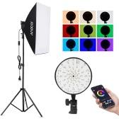Andoer Studio Photography RGB Softbox Lighting Kit APP Control avec 20 * 28 pouces Softbox * 1 / 50W 3200K-5500K RGB Light * 1 / 2M Light Stand * 1 pour la prise de vue de portrait en direct