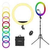 Andoer 18-Zoll-RGB-Ringlicht-Kit mit LED-Selfie-Ringlicht 2500K-8500K Dimmbarer Touch-Knopf / APP-Steuerung + 190 cm / 75-Zoll-Metall-Lichtständer + Flexibler Telefonclip + Kabelloser Fernauslöser + Tragetasche für Live-Streaming Online-Video-Selfie-Make-up-Vlog