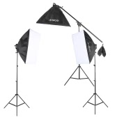 Kit di illuminazione Andoer Studio Foto Video con 12 * 45W Lampadina / 3 * 4in1 Lampadina Socket / 3 * Stand Softbox / 3 * Luce / 1 * cantilever Stick / 1 * sacchetto di trasporto