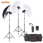 Godox M180-A * Kit de la iluminación Mini 3 180ws Estudio Fotográfico flash estroboscópico con (3) Flash / (3) soporte de luz / (2) Soft Paraguas / (1) relector paraguas / (1) RT-16 de disparo de flash / (1) Bolsa de transporte