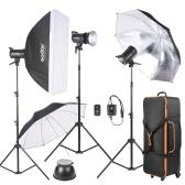 Godox SK300-D 3 * Kit 300ws Studio Photo Strobe Flash Light avec 3 * Lumière Support / 1 * Softbox / 1 * Réflecteur Umbrella / 1 * Doux Umbrella / 1 * Déclencheur Flash / 1 * Lamp Shade / 1 * Sac de transport sur roues
