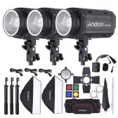 Andoer MD-300 900W (300W * 3) Kit studio Strobe Flash Light avec la lumière stand Softbox Lambency Unbrella Barn Door Déclencheur Flash Sac de transport pour tournage de la vidéo Emplacement et Portrait Photographie