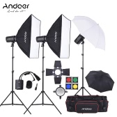 Andoer MD-300 900W (300W * 3) Kit studio Strobe Flash Light avec la lumière stand Softbox Lambency Unbrella Barn Door Déclencheur Flash Sac de transport pour tournage de la vidéo Emplacement et Portrait Photographie