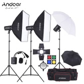 Andoer MD-250 750W (250W * 3) Studio Strobe Flash Light Kit with Light Stand Softbox Lambency Unbrella Barn Door Flash Trigger Carrying Bag for Video Shooting Location and Portrait Photography