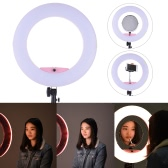 "FD-480II 17,7 ""/ 45cm 96W Dimmable Bi-couleur 3200-5500K Light Ring Macro Vidéo LED Lamp w / LCD Holder Make-up Smartphone Miroir pour Canon Nikon Sony Caméra Caméscope Photographie studio Diffusion en direct Telecast Beauty Salon"