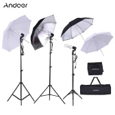 Andoer Photo Studio Kit 2 * 2m Light Stand + 3 * 45W Bulb + 2 * 83cm Translucent White Soft Umbrella +2 * 83cm Black & Silver Umbrella + 1 * 80cm Light Stand + 3 * Bulb Swivel Socket avec 1 sac de stockage d