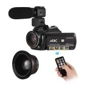 Cyfrowa kamera wideo Andoer AC3 4K UHD 24MP z dodatkowym obiektywem szerokokątnym 0.39X + zewnętrzny mikrofon