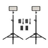 Andoer LED Video Light Kit include 2pcs W228 3200K/6000K Bi-Color Dimmable LED Video Light+2pcs Max. 72cm Light Stand+2pcs 7.4V 2200mAh Matched Battery & Battery Charger for ILDC DSLR Cameras