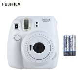Fujifilm Instax Mini 9 Instant Camera Film Cam with Selfie Mirror 2pcs Battery, Ice Blue