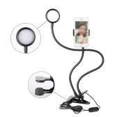 3-Level Brightness Selfie Ring Light Clip with Clamp Mounting Adapter Cell Phone Holder On 360 Rotating For Live Stream Video Chat Flexible Long Arms Clips Lazy Bracket (White)