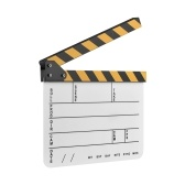 Dry Erase Acrylic Director Film Clapboard Película TV Cut Acción Scene Clapper Board Slate con Yellow / Black Stick, Blanco