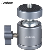 "Andoer Mini Tripod Metal Ball Head Adapter Ballhead Mount with 1/4"" Screw & 1/4"" Screw Hole"