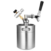 2L Mini Stainless Steel Beer Keg with Tap Pressurized Home Beer Brewing Craft Beer Dispenser Growler System