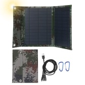 12W 12V Monocrystalline Foldable Solar Panel with Dual USB Outputs Multi Multi Charger Cable Adapter Type-C/Micro USB Port Compatible with Cell Phones Tablets and More