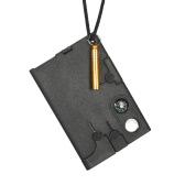 Wielofunkcyjny sprzęt do ratowania karty kredytowej Multitool z ostrzegawczym gwizdkiem Kompas Nóż do turystyki na świeżym powietrzu