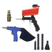 2 in 1 Portable (Air Vacuum Blower Suction Gun + Sand Blaster) Set Pneumatic Cleaner Sand-blasting with Accessorries Tool / Red