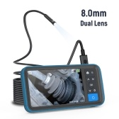 4.5inch HD Color Screen Digital Endoscope 8mm Dual Lens IP67 Waterproof Camera Brightness Adjustable Video Recorder Support 8 languages Borescope with 5m Snakelike Tube Inspection Instrument MS450