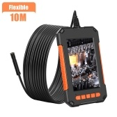 P40 Portable Handheld Industrial Endoscope IP67 Waterproof 8mm Lens 4.3-Inch LCD Display Screen 1920*1080p HD Camera 2600mAh Battery Capacity Video Inspection Drain Plumber Snake Camera Borescope with Flexible/Rigid Cable Dimmable LED Light TF Card Slot USB Port Hook Magnet Side-View Mirror