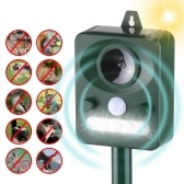 Solar Ultrasonic Pest Repeller Outdoor Animal Repeller with Ultrasonic Sound Motion Sensor and Flashing Light Keep Animals Away Repellent Squirrels Mouse Bird Cat Dog Bat