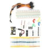 Kit für elektronische Komponenten Sortiment an elektronischen Komponenten 830 Verbindungspunkte MB102 Breadboard-Überbrückungskabel Netzteilmodul LED-Kondensatordiodentransistor Widerstand Druckknopf Batterieclip-Anschluss
