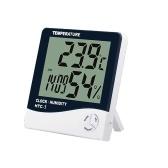 Higrômetro digital Termômetro Monitor de temperatura interna Medidor de umidade Grande LCD estação meteorológica Relógio despertador com calendário de lembrete de hora em hora e memória máxima mínima HTC-1