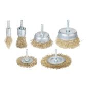 Ensemble de 6 brosses en fil métallique recouvert de laiton et de brosse avec tige de 1/4 pouce Ensemble de brosses pour perceuse à fil enduit de 6 tailles, parfait pour l