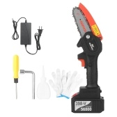 21V Mini Cordless Chainsaw 4-Inch Electric Brushless Pruning Saw 1 pack 4.0A Rechargeable Lithium Battery