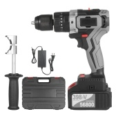 Cordless Drill Driver 21V 4.0A Battery Max Torque 200N.m 1/2 Inch Metal Keyless Chuck 20+3 Position 0-1550RMP Variable Speed Impact Hammer Drill Screwdriver With Plastic Tool Box