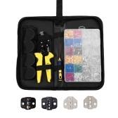 ワイヤ端子圧着工具交換可能なジョー絶縁ラチェットクリンパーキット、850PCS0.5-6.0mm²絶縁端子バッグパッキング付き