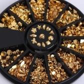 Ongles 3D Art Strass Paillettes Perles Acrylique Conseils Décorations Roues Manucure (12 Modèles Goujons En Métal Doré)