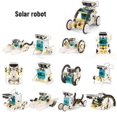 13 in 1 Solar Robot DIY Children Intelligence Solar Toy Solar Handmade Toy Set STEM Science Toy Solar Energy Building Block Puzzle
