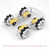4WDスマートカーシャーシDIYキットオムニモバイルデュアルレイヤープラットフォーム4つの無指向性ホイールソリッドロボットプラットフォーム透明シャーシDIYセット
