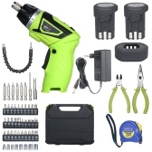 Quick Release 6.0N.m Cordless Electric Screwdriver 2x Rechargeable 1500mAh Li-ion with 40 Accessories Pliers and Tape Measure 7 Torque Setting 2 Position Handle with LED Light Battery Indicator