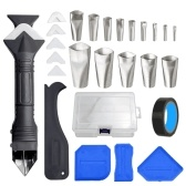 KKmoon 27 PCS Caulking Nozzle Applicator Finishing Tool with Storage Case Caulk Remover Tool Kit 3 in 1 Metal Scraper with 6 Silicone Pads Grout Angle Scrapers for Kitchen Bathroom Door Window Sink Tile