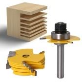 Manual DIY Tenon Milling Cutter Bit Set T Type Cutter Chisel Cutter with 6PCS Slotting Cutterblades (12mm Shank)