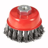 """75mm 3"""" Steel Wire Wheel Knotted Cup Brush Rotary Steel Wire Brush Crimp Cup Wheel For Angle Grinder"""