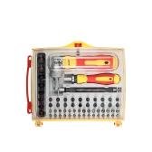 62 unids zócalos de destornilladores multifuncionales conjunto con Hex Torx ranurado Phillips Bits kit de herramientas de reparación de trabajo eléctrico