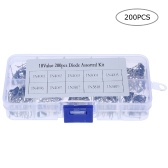 200pcs 10 Values Rectifier Diode Assorted Kit with Clear Box 1N4001~1N4007 & 1N5817~1N5819 with Clear Plastic Box